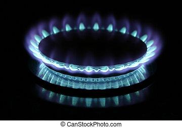 Gas Burner - Blue gas flame on stove