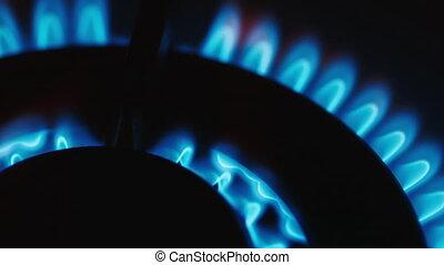 gas-burner, burning natural gas