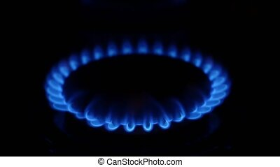 Gas burner flame. Close up