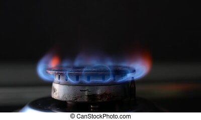 Gas Burner On Stove. 4k ULTRA HD Footage. 3840x2160