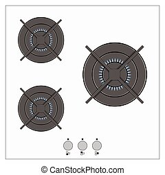 Gas burning from a kitchen gas stove vector