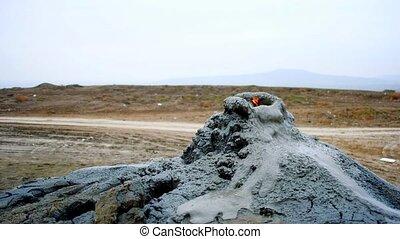 Gas burning from mud volcano in Gobustan near Baku
