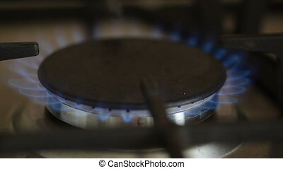 Gas burning in the burner of oven Selective focus