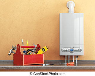gas, caldera, mantenimiento, o, repearing, concept., caja de herramientas, con, herramientas, en, el, kitchen.