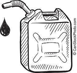 Gas can sketch - Doodle style gasoline can illustration in...