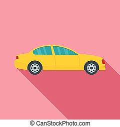 Gas car icon, flat style