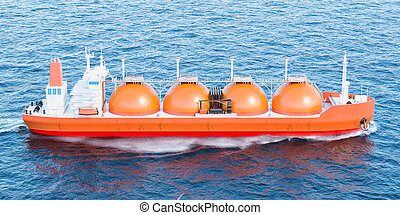 Gas carrier sailing in ocean. 3D rendering - Gas tanker...