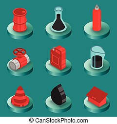 Gas color isometric icons