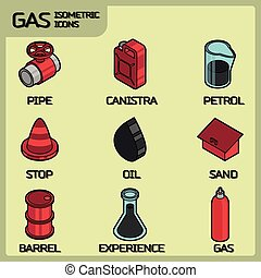Gas color outline isometric icons