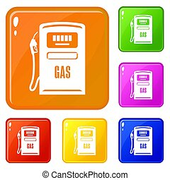 Gas column icons set color - Gas column icons set collection...