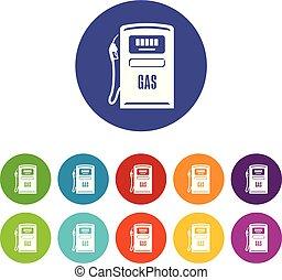 Gas column icons set vector color - Gas column icons color...