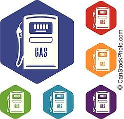 Gas column icons vector hexahedron - Gas column icons vector...
