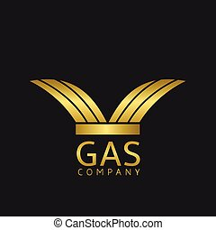 Gas Company logo. Golden fire sign, Vector illustration