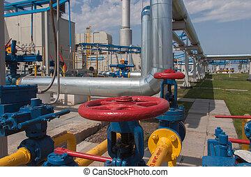 Gas compressor station in Ukraine in the bright sunny summer...