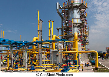 Gas compressor station in Ukraine in the bright sunny summer day