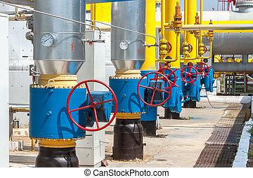 Gas compressor station in Ukraine in bright sunny summer day