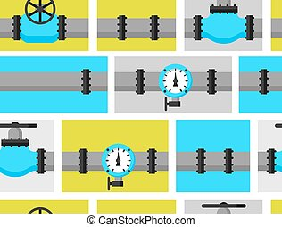 Gas control valve and pipes transportation. Industrial seamless pattern