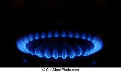 Gas cooker. Close up