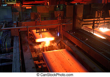 Gas cutting of the hot metal in a plant