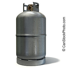 Gas Cylinder - A clean unbranded metal gas cylinder with a...