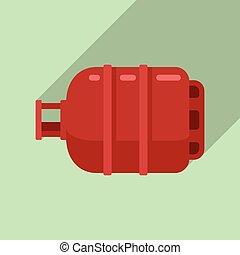 Gas cylinder butane icon, flat style