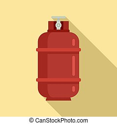 Gas cylinder container icon. Flat illustration of gas cylinder container icon for web design