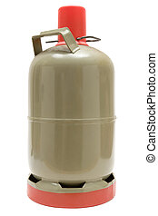 Metal gas cylinder isolated on a white background.