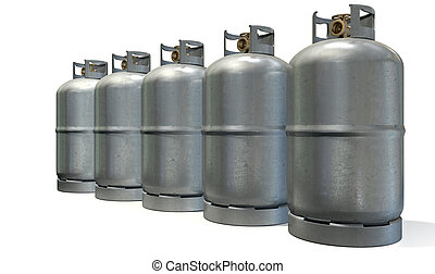 A row of five clean unbranded metal gas cylinders with bronze valves on an isolated white background