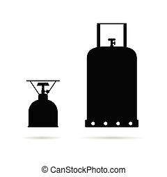 gas cylinder set in black color art illustration