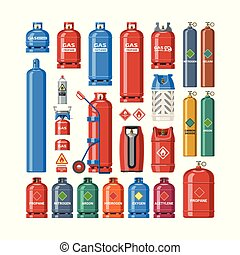 Gas cylinder vector lpg gas-bottle and gas-cylinder illustration set of cylindrical container with liquefied compressed gases with high pressure and valves isolated on white background