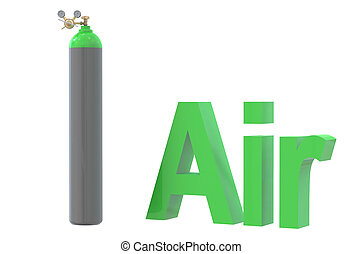 gas cylinder with air,  with pressure regulator and reducing val