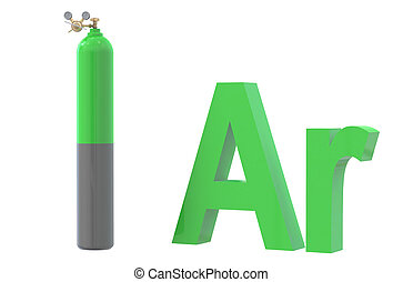 gas cylinder with argon, with pressure regulator and reducing va
