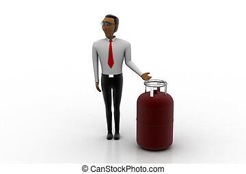 Gas cylinder with man