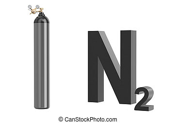 gas cylinder with nitrogen, with pressure regulator and reducing