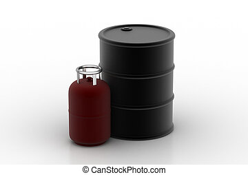 Gas cylinder with ouil barrel