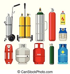 Gas cylinders. Butane helium acetylene propane metal tank...
