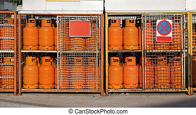 Gas cylinders LPG - LPG gas cylinders at petrol station...