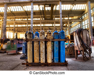 Gas cylinders - Old gas cylinders in an industrial...