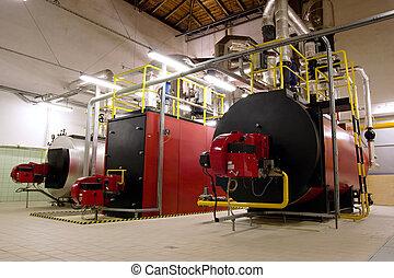 Gas, zimmer, dampfkessel, boiler. Zimmer, gas, dampfkessel ...