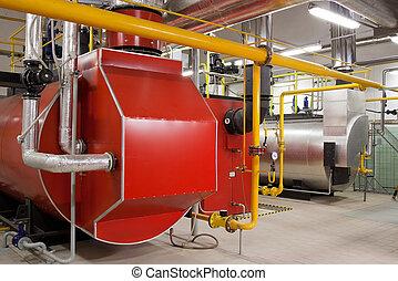 Zimmer, gas, dampfkessel, produktion, boiler, dampf.