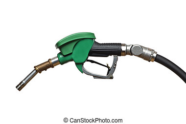 gas - green refueling hose isolated on white close up