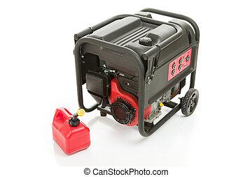 gas, emergencia, generador, lata