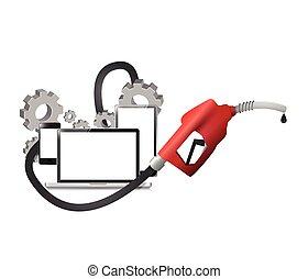 gas, en, industriebedrijven, olie, concept, illustratie, ontwerp