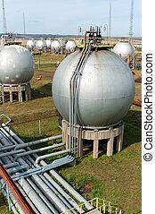 gas, en, olie, industry., afgewerkte goederen, tanks.