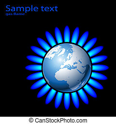 gas - Illustration of Earth and a natural gas flame. Vector.
