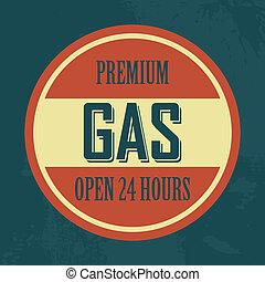 gas, etikett