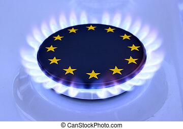 Gas EU - Gas flame and European Union Sign on the hob