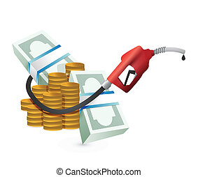 gas expenses concept with a gas pump nozzle illustration...