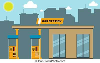 Gas filling station with cityscape silhouette in background. Vector illustration.