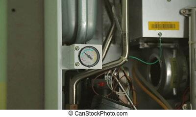 Gas-fire boiler in closeup